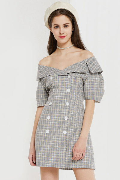 Emma Plaid Double Breast Dress by STORETS