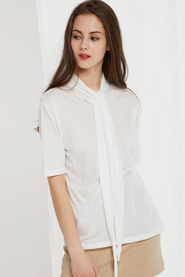 Banu Tie Collar Top by STORETS