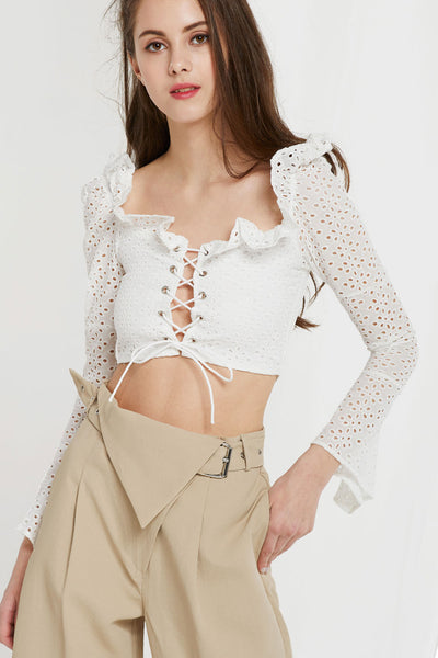Unice Lace Up Eyelet Crop Top by STORETS