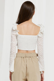 Unice Lace Up Eyelet Crop Top