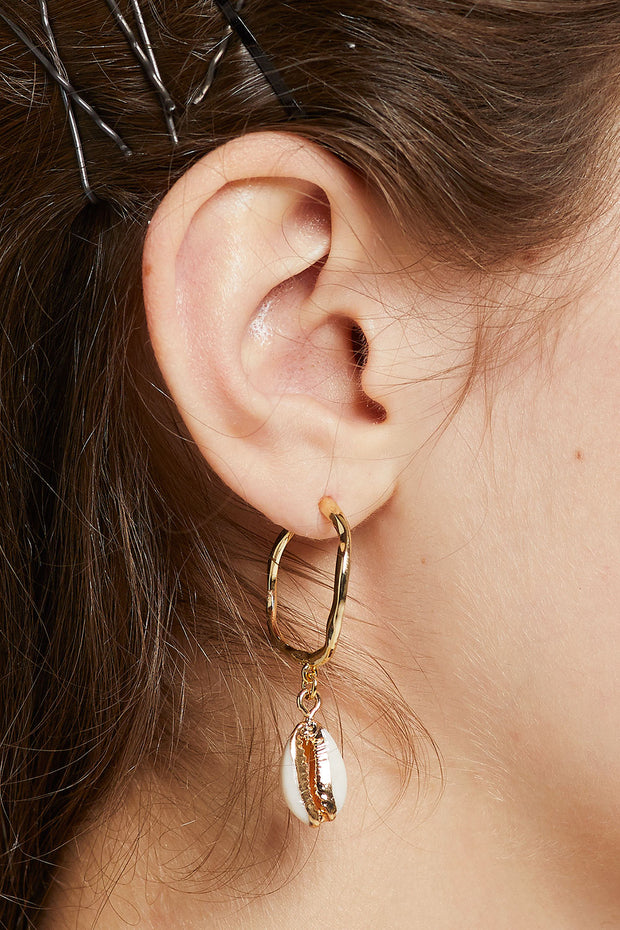 Cowrie Shell Hoop Earrings by STORETS