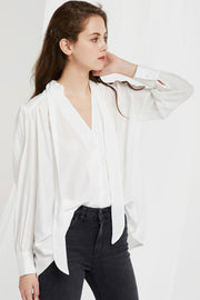 Leah Mandarin Collar Tie Blouse by STORETS