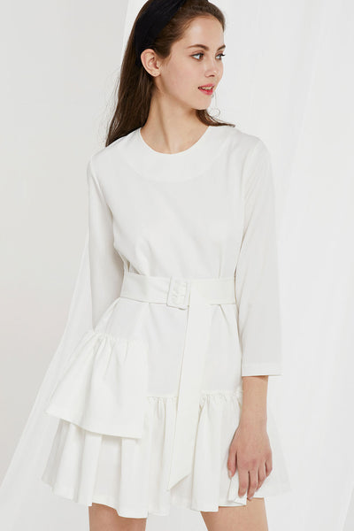 Itzel Flounce Dress w/ Belt by STORETS