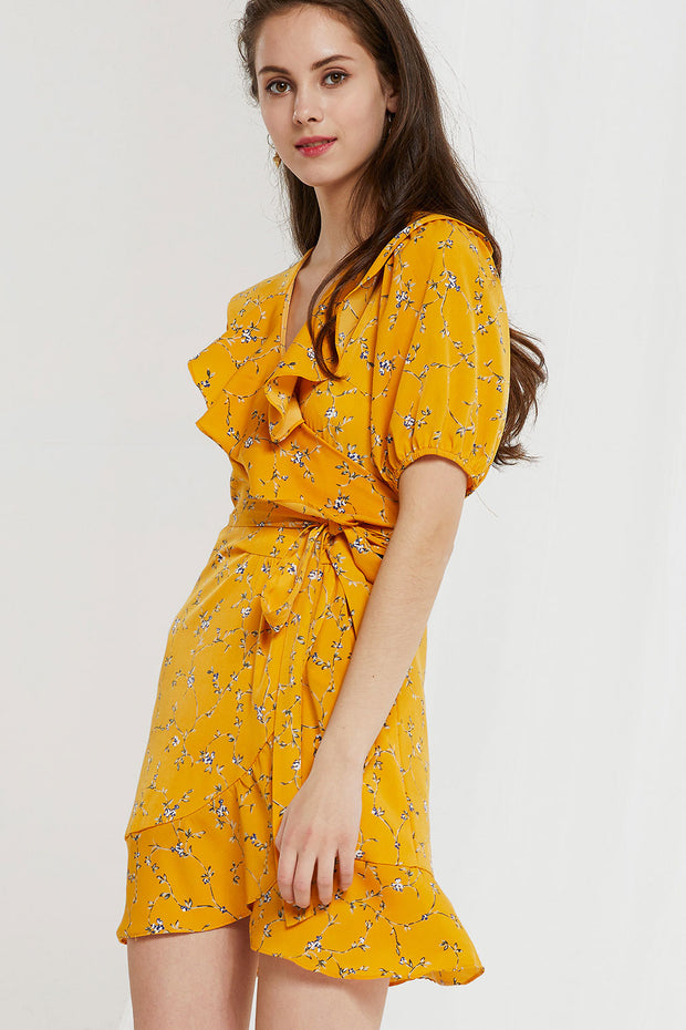 Kayla Floral Ruffle Wrap Dress