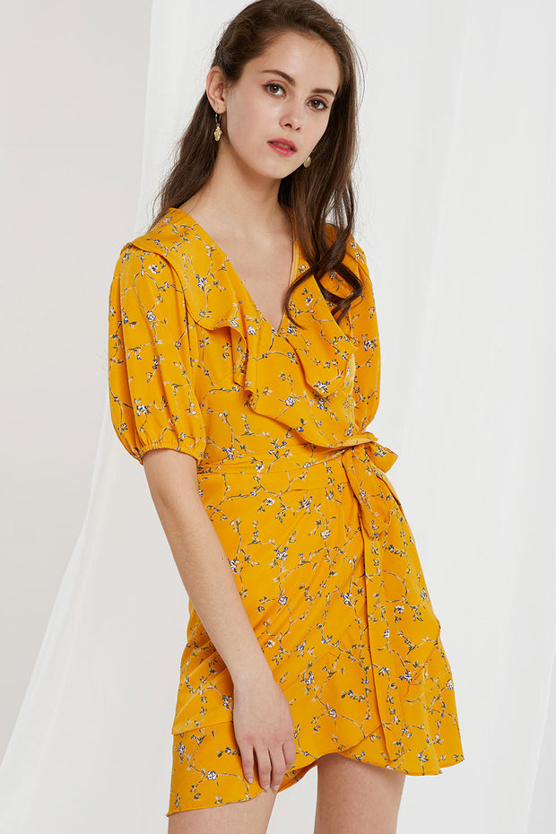 Kayla Floral Ruffle Wrap Dress by STORETS