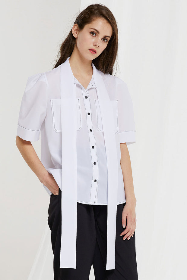 Charlotte Contrast Stitch Sheer Shirt by STORETS