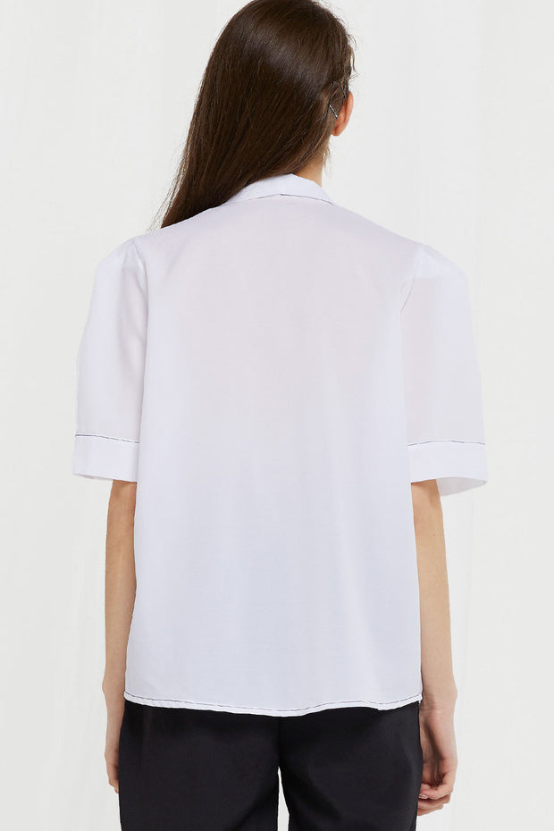 Charlotte Contrast Stitch Sheer Shirt