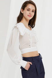 Echo Puritan Collar Crop Blouse