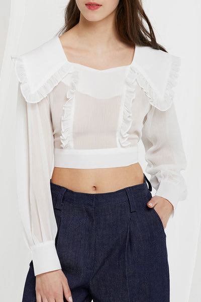 Echo Puritan Collar Crop Blouse (Pre-Order)