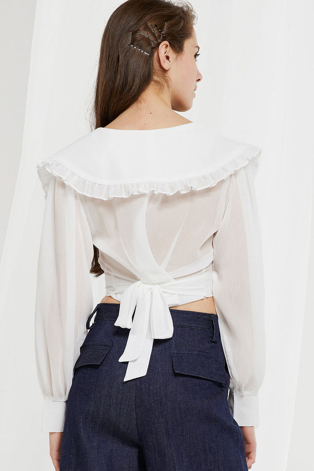 storets.com Echo Puritan Collar Crop Blouse
