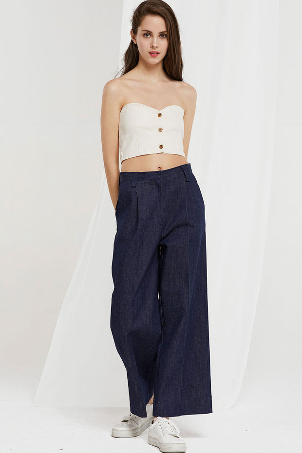 Kaia Wide Leg Raw Jeans