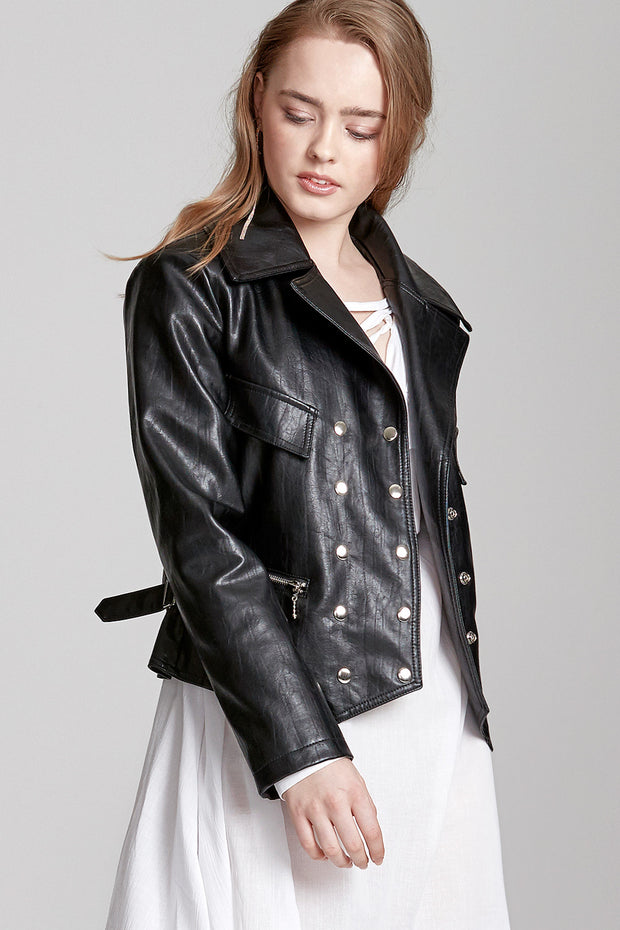 Eva Snap Button Leather Jacket