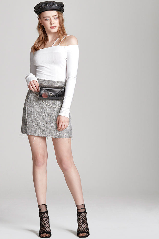 Amy Frayed Tweed Skirt