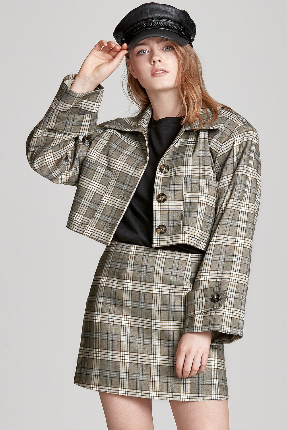 Kylie Cropped Check Jacket