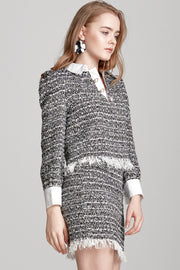 Mila Frayed Tweed Skirt