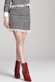 storets.com Mila Frayed Tweed Skirt