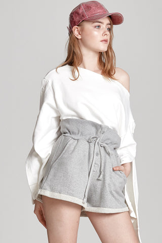 Lydia Button Up Sweat Shorts