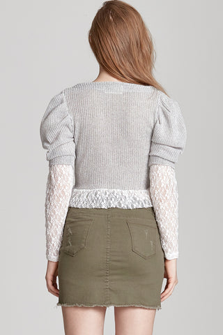 Scarlett Lace Combo Sleeve Top