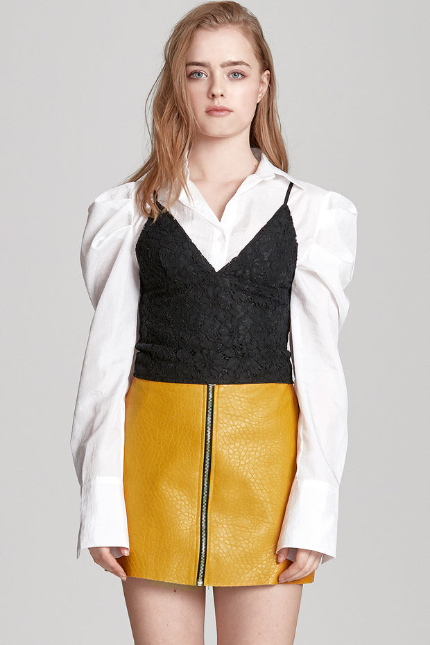 Sadie Textured Leather Zip Skirt