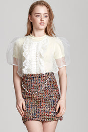 storets.com Camila Chain Belted Tweed Skirt