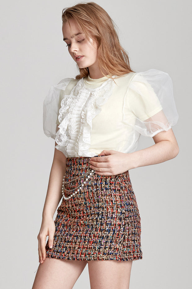 Sally Sheer Ruffle Bow Blouse