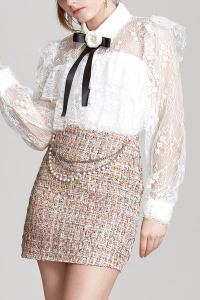 Camila Chain Belted Tweed Skirt