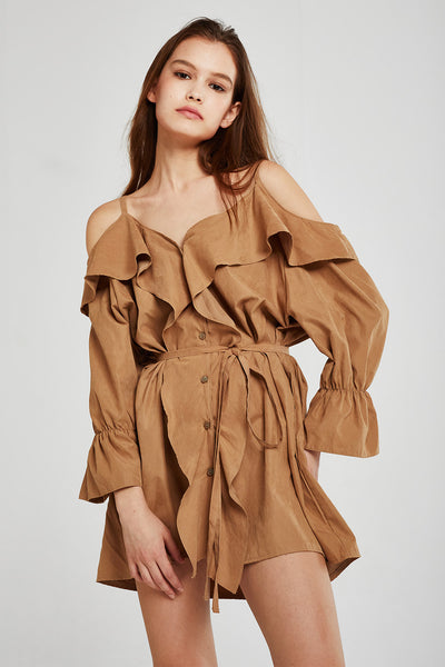 Isabella Cold Shoulder Ruffle Dress
