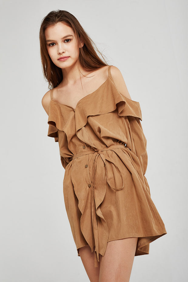 storets.com Isabella Cold Shoulder Ruffle Dress
