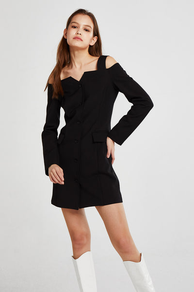 Monica Cold Shoulder Button Down Dress