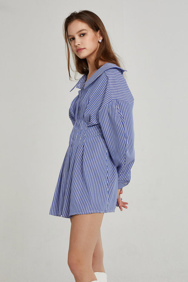 Emily Striped Corset Shirt Dress
