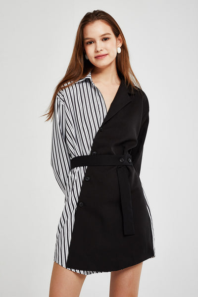 Abigail Half Stripe Block Dress