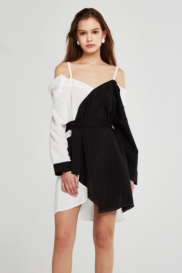 storets.com Ava Cold Shoulder Shirt Dress