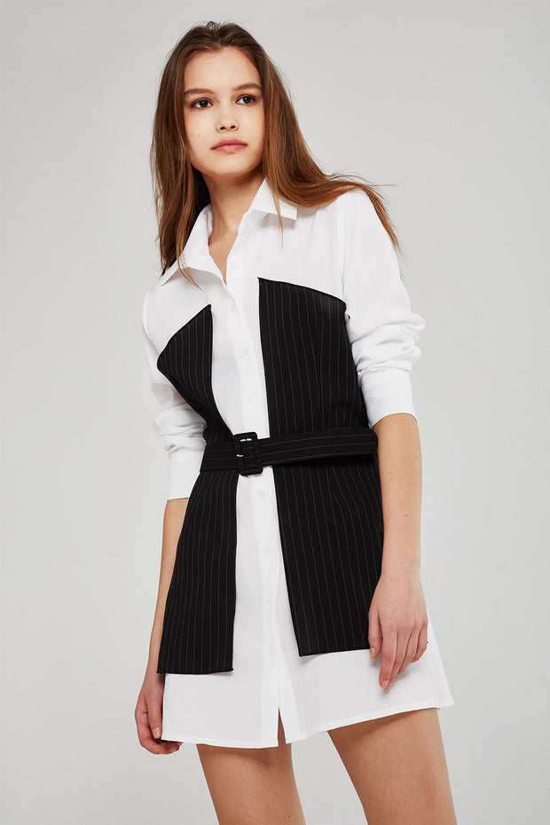 storets.com Olivia Pinstripe Block Shirt Dress