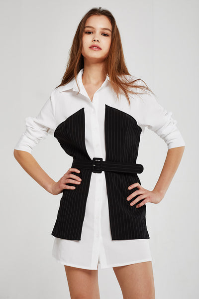 Olivia Pinstripe Block Shirt Dress