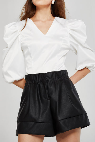 Stella Ruched Puff Sleeve Blouse