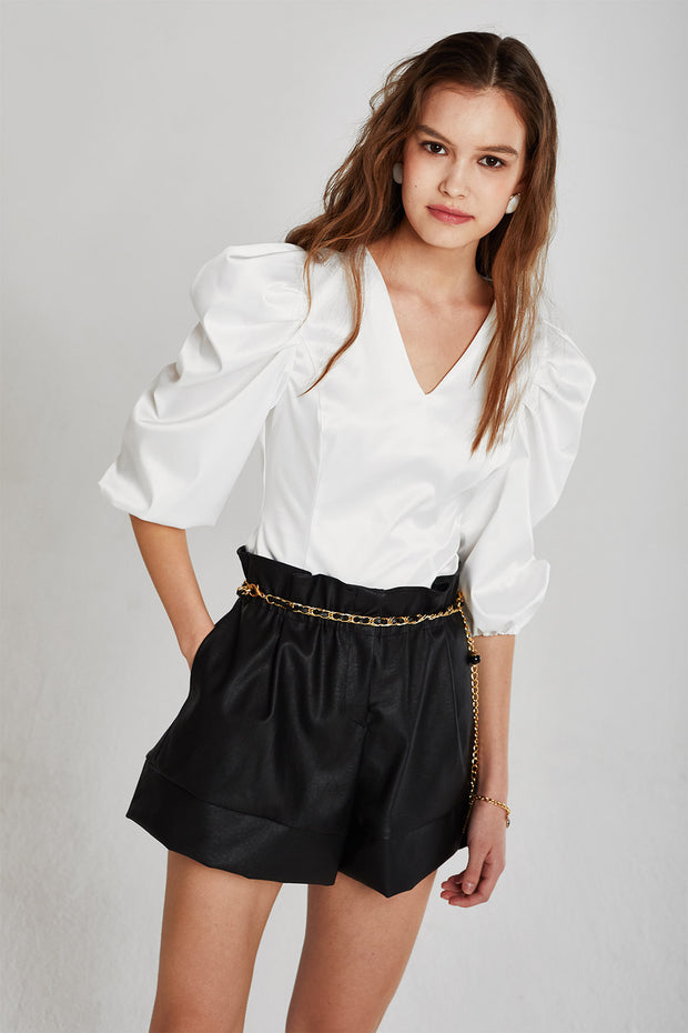 storets.com Stella Ruched Puff Sleeve Blouse
