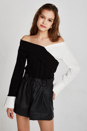 Rylee Color Block Off Shoulder Top