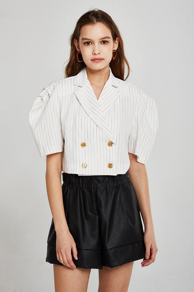 Grace Pinstripe Cropped Linen Jacket