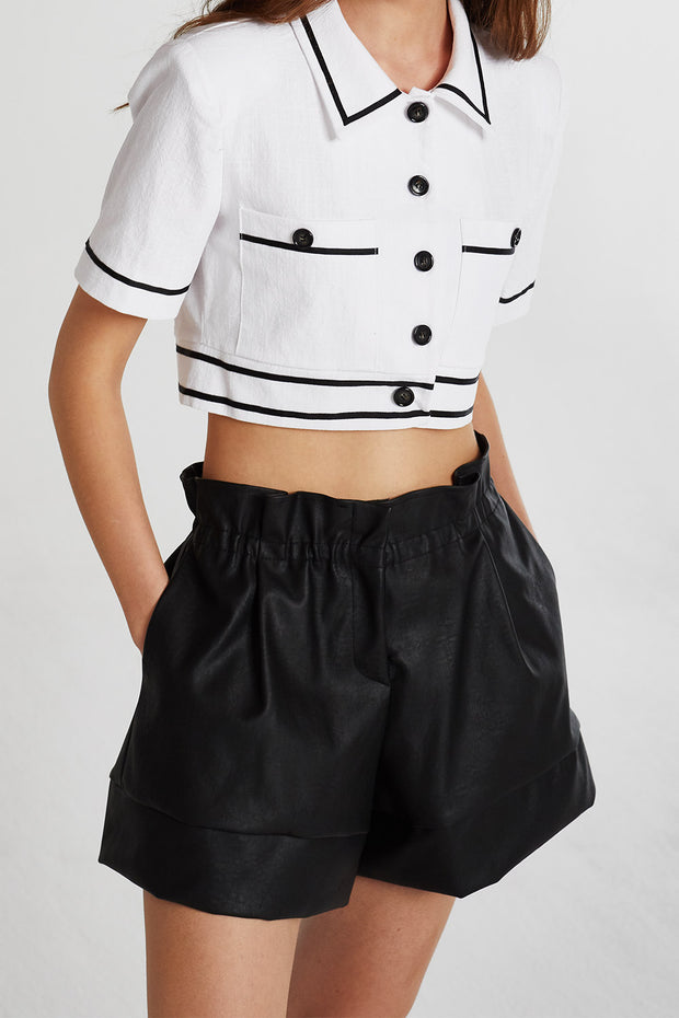 Brooklyn Contrast Trim Cropped Shirt