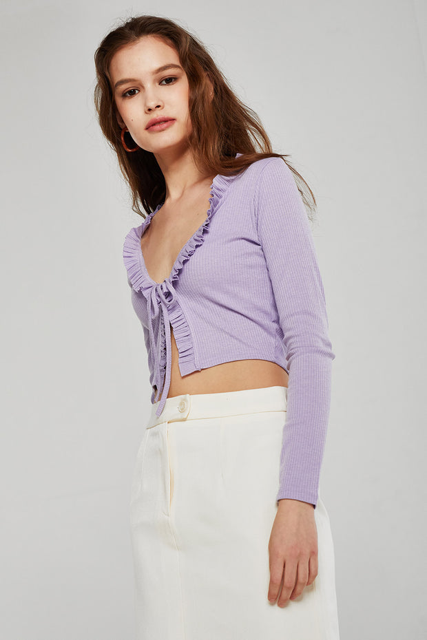Luna Ruffle Trim Cropped Cardigan