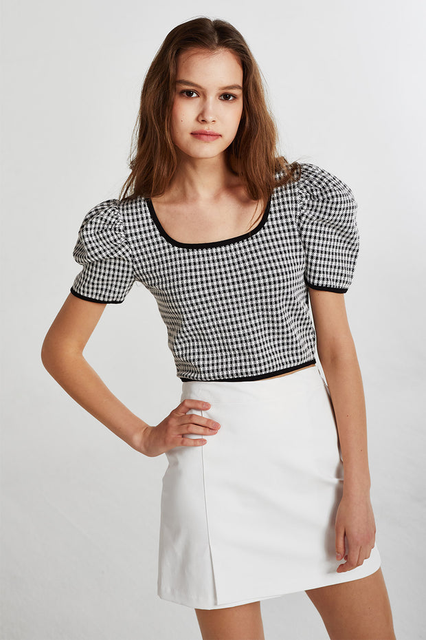 Bella Gingham Cropped Top