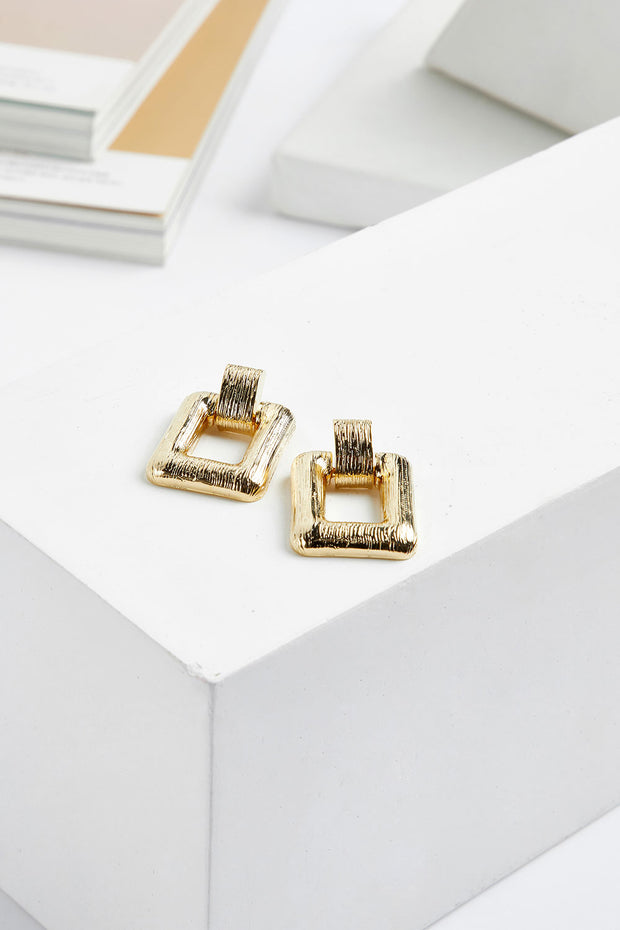Bold Gold Square Earrings