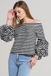 Cora Striped Balloon Top
