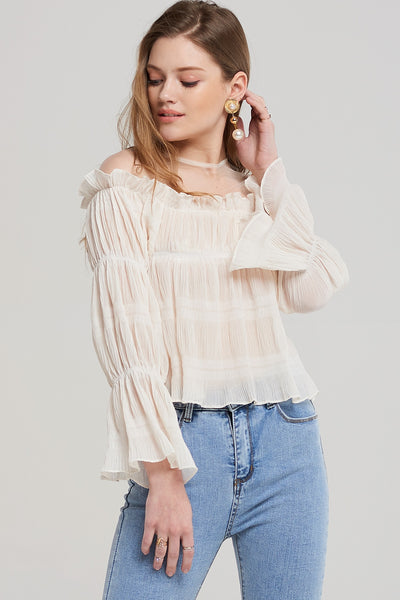Leah Pleated Shirring Blouse