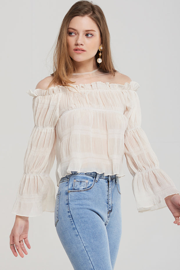 storets.com Leah Pleated Shirring Blouse