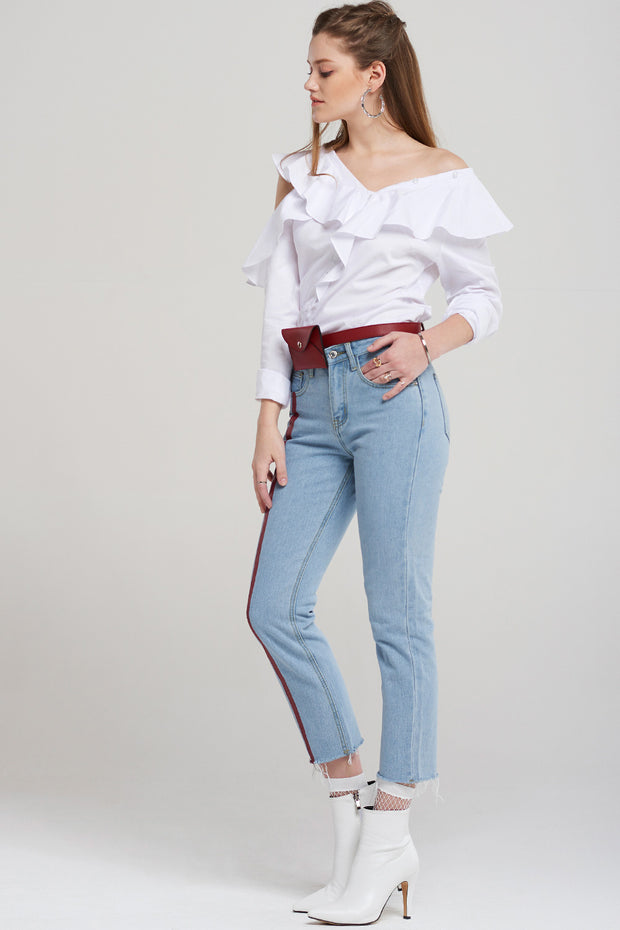Mia Unbalanced Cut Ruffle Blouse