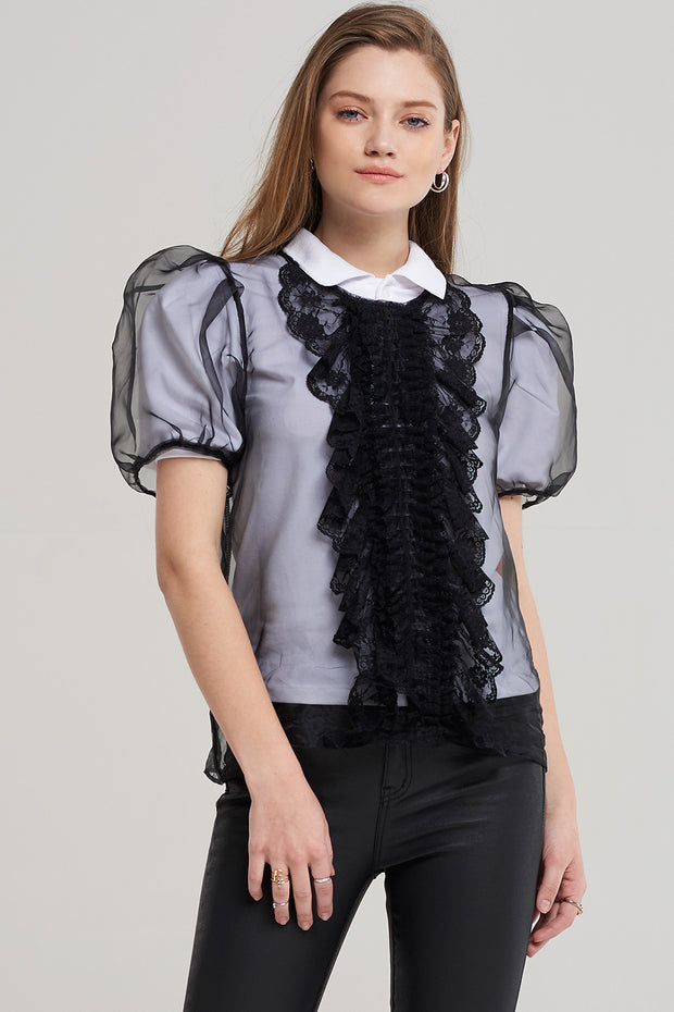 storets.com Sally Sheer Ruffle Bow Blouse