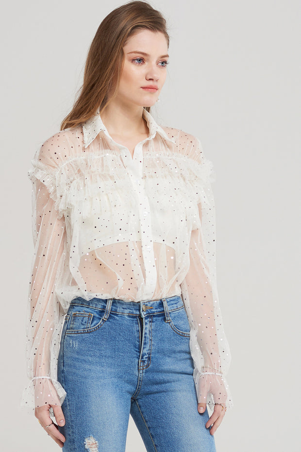 Lily Glittering Shirred Blouse