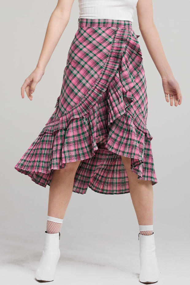 Bella Jazzy Pink Check Skirt