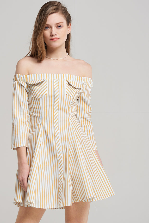 storets.com Ava Flared Stripe Dress